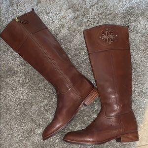 TORY BURCH BROWN LEATHER TALL BOOTS